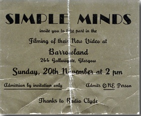 Ticket for Simple Minds, 1983