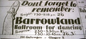 Newspaper advert for the Barrowland, 1944