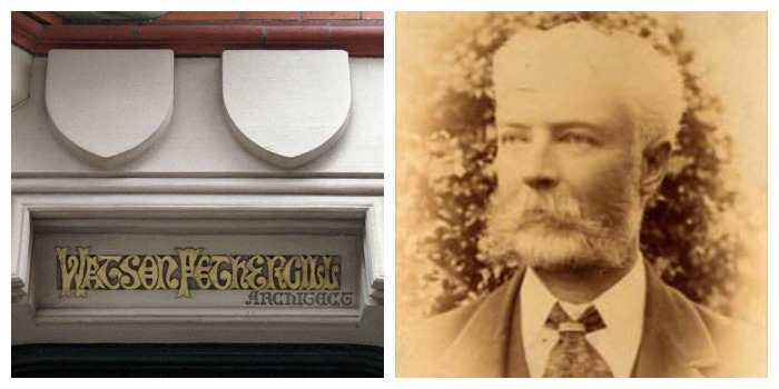 Watson Fothergill (or is it Fothergill Watson?) and the name plate he designed for his office.