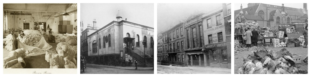 Photos from Picture The Past courtesy NCC. The Adams Lace Brown Room; Old Town Hall (Nottingham Historic Film Unit); High Pavement; Sneinton Market 1937.